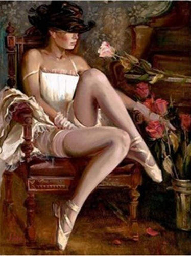 paint by numbers | Sexy Woman with Hat and Ballerina shoes | advanced romance | FiguredArt