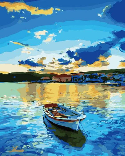 paint by numbers | Small boat at Sunrise | easy landscapes | FiguredArt