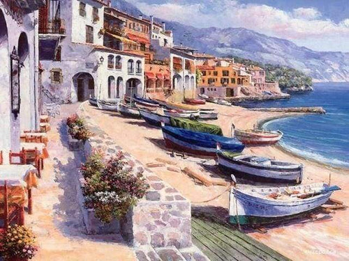 paint by numbers | Small Village in Spain | advanced landscapes ships and boats | FiguredArt