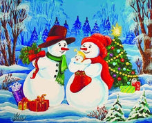 Load image into Gallery viewer, paint by numbers | Snowman Family | christmas intermediate new arrivals | FiguredArt