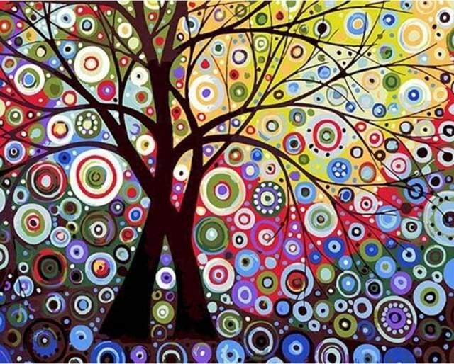 paint by numbers | Stained Glass Effect Tree | advanced trees | FiguredArt