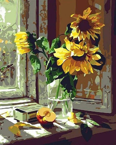 paint by numbers | Sunflowers and apple in front of the window | easy flowers | FiguredArt
