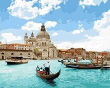 Load image into Gallery viewer, paint by numbers | Sunny Venice | intermediate romance ships and boats | FiguredArt