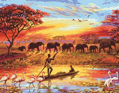 paint by numbers | Sunset with Elephants | animals elephants intermediate landscapes world | FiguredArt