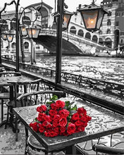 Load image into Gallery viewer, paint by numbers | Terrace and Bouquet of Roses | cities flowers intermediate romance | FiguredArt