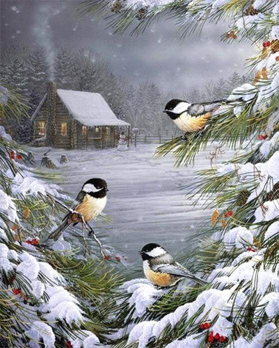 paint by numbers | Three Birds in the Snow | advanced animals birds landscapes | FiguredArt
