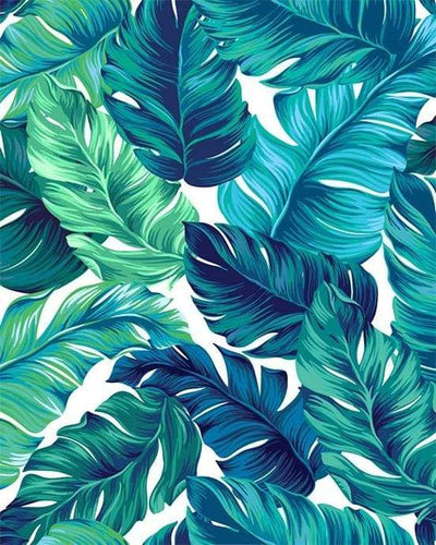 paint by numbers | Tropical Green leaves | flowers intermediate | FiguredArt