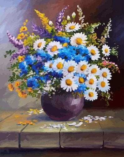 paint by numbers | Vase and Daisies | flowers intermediate new arrivals | FiguredArt