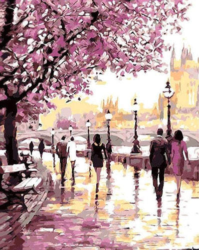 paint by numbers | Walk near the River in Spring | advanced cities romance | FiguredArt