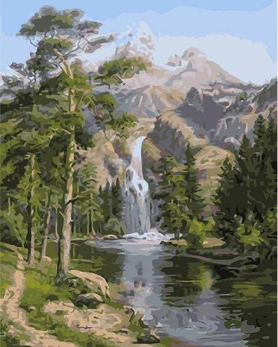 paint by numbers | Waterfall near the mountain | intermediate landscapes | FiguredArt