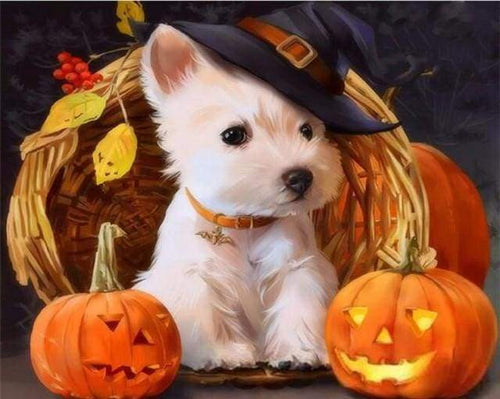 paint by numbers | Westie Dog during Halloween | animals dogs intermediate | FiguredArt