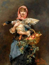 Load image into Gallery viewer, paint by numbers | Woman and Duck | advanced animals birds new arrivals portrait | FiguredArt