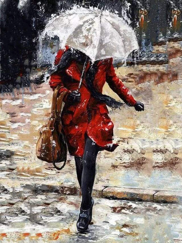 paint by numbers | Woman walking down the stairs in the Rain | advanced romance | FiguredArt