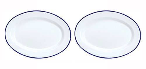 Crow Canyon Enamelware Oval Plate White With Blue Rim - Set of 2