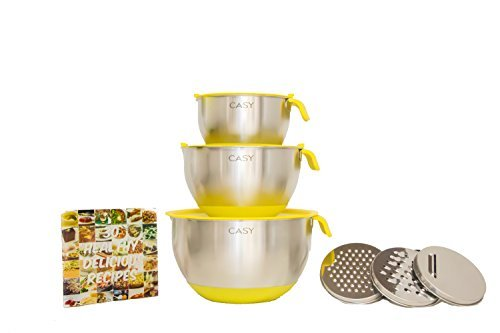 SPECIAL OFFER - 10 PIECE SET - 18/10 Stainless Steel Mixing Bowls with Handles, Lids, Spout, Non-slip Silicone Base, Measurement Scale, 3 Grater Sets and Bonus Recipe eBook