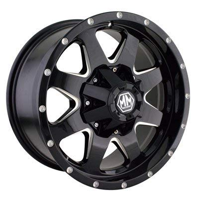 MAYHEM TANK Wheel with BLACK/MILLED SPOKES (17 x 9. inches /5 x 127 mm, 18 mm Offset