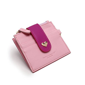 Womens Card Holder RFID Girls Wallet Vibrant ID Card Sleeve Card Case with Key Ring
