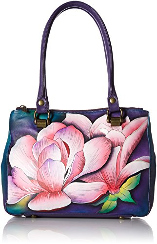 Anuschka Hand Painted Leather Women's Triple Compartment Medium Tote, Magnolia Melody