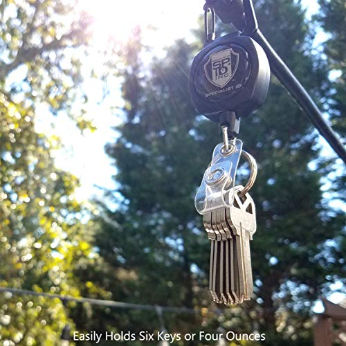 Bulk 25 Pack - Heavy Duty Retractable Badge Reels w ID Holder Strap & Keychain - Strong Carabiner Belt Loop Clip - Retracting Lanyard with Kevlar Cord for Keys & Access Cards by Specialist ID (Black)
