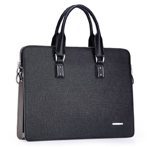 Teemzone Men's Real Leather Business Casual Briefcase Laptop Portfolio Tote (Smaller Size)