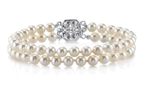 THE PEARL SOURCE Sterling Silver 7-8mm AAAA Quality Round White Double Freshwater Cultured Pearl Bracelet for Women