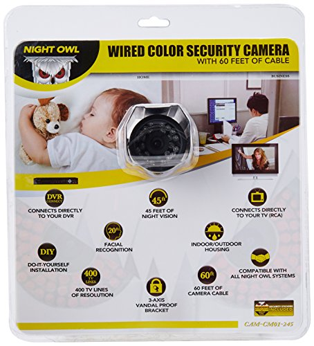 Night Owl Security Products CAM-CM01-245 Wired Color Security Camera with Vandal Proof 3-axis Bracket and 60 Feet of Cable