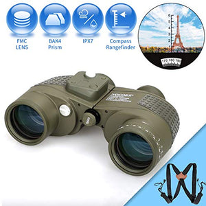 NOCOEX 10X50 Marine Binoculars for Adults,Waterproof Built-in Compass Rangefinder Fogproof BAK4 Prism Lens Military Binocular for Navigation Boating Birdwatching and Hunting with Harness Strap