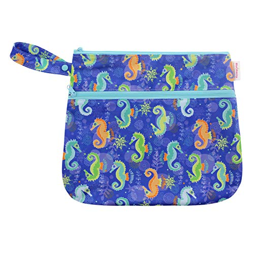 "Blueberry Reusable Wet/Dry Travel Bags/Laundry Bag with Zipper Closure for Cloth Diapers or Swimsuits (Seahorse, Bag 12""x15"")"