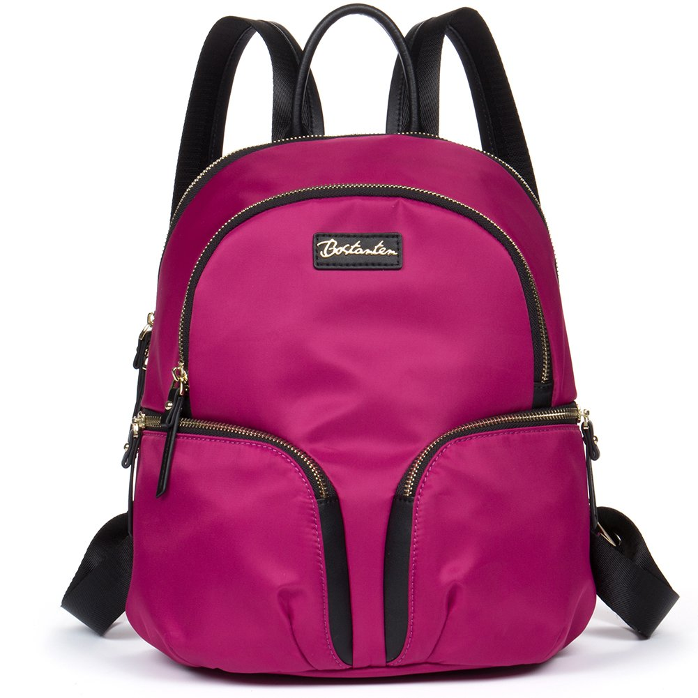 BOSTANTEN Women Backpack Purses Water Resistant Backpacks Nylon Light Weight Travel Bags Rosered