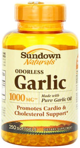 Sundown Naturals Odorless Garlic 1000 mg Softgels 250 ea (Pack of 11)