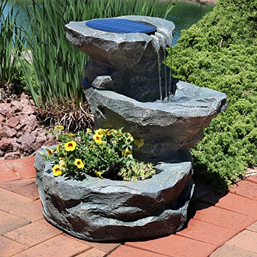 Sunnydaze Solar Garden Outdoor Water Fountain with Planter, 19 Inches, Includes Solar Pump and Panel