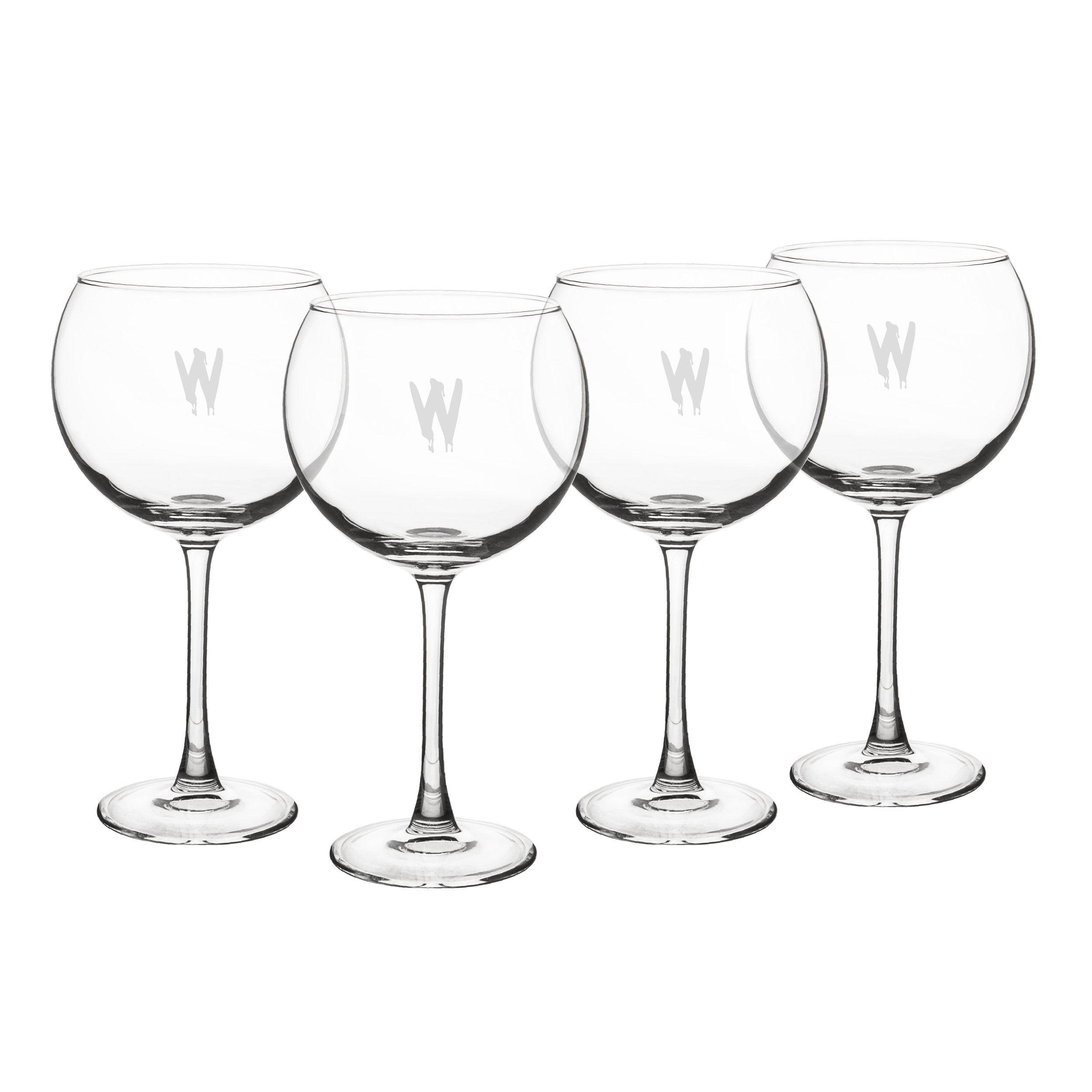 Cathy's Concepts Personalized Spooky Red Wine Glasses, Set of 4, Letter W