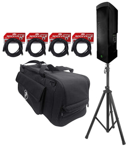 Package: Mackie Reach 720w Portable PA Speaker System With Bluetooth, Built in 6 Channel Mixer, Effects, and Controllable Via iOS and Android App + Bag + Pro Speaker Stand + (4) Microphone Cables