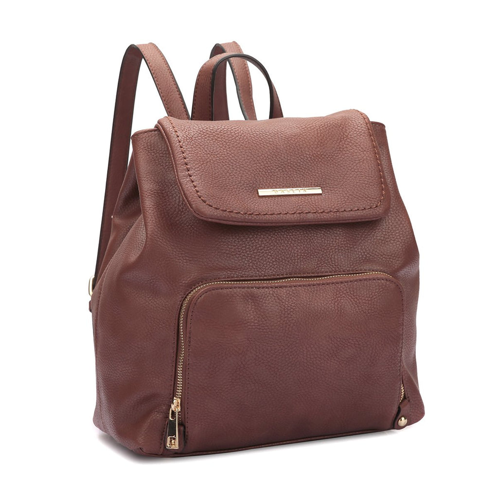 Women Fashion Backpack Purse PU Leather Rucksack Casual Travel School Backpack with Drawstring Snap Closure (7170-Brown)