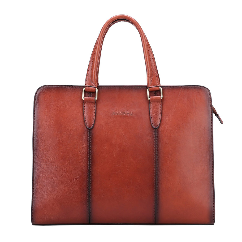 Banuce Vintage Full Grains Italian Leather Briefcase for Women Tote Handbag Attache Case 14 Inch Laptop Messenger Bag