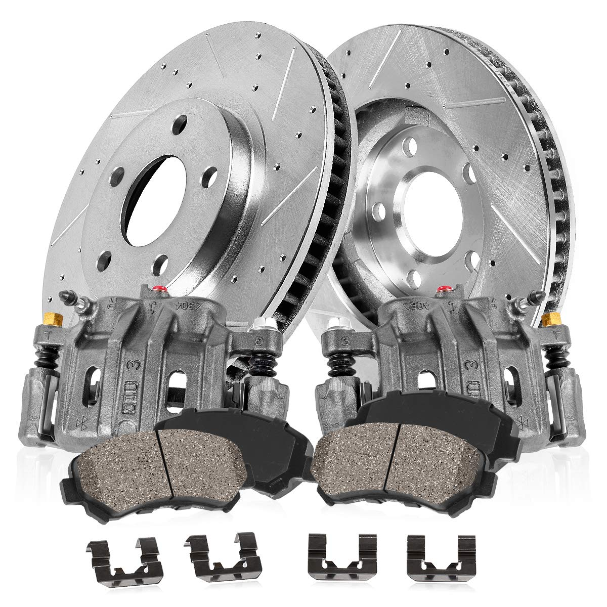 CCK11632 FRONT OE [2] Remanufactured Calipers + [2] Drilled/Slotted Rotors + Quiet Low Dust [4] Ceramic Pads Kit
