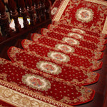 "KEYAMA Acrylic Set of 15 Indoor Floral Bullnose Non-Slip Stair Carpet 9""W x 25""L Red 059"