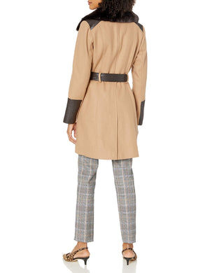 VIA SPIGA Women's Kate Mid-Length Belted Wool Asymmetric Zip Front Coat with Faux Fur Collar, Camel, 18