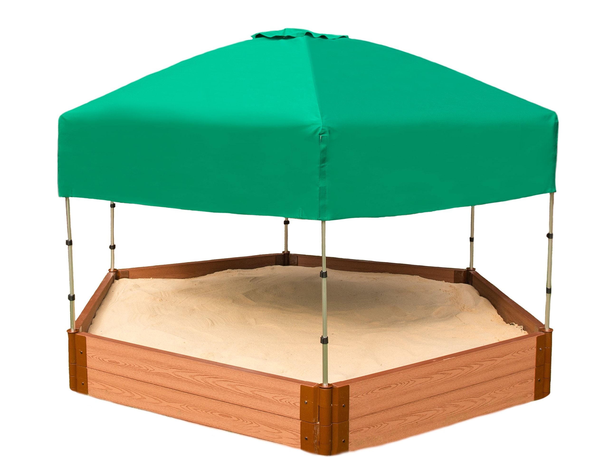 "Frame It All Tool-Free Classic Sienna 7ft. x 8ft. x 11in. Composite Hexagon Sandbox Kit with Telescoping Canopy/Cover - 2"" Profile"