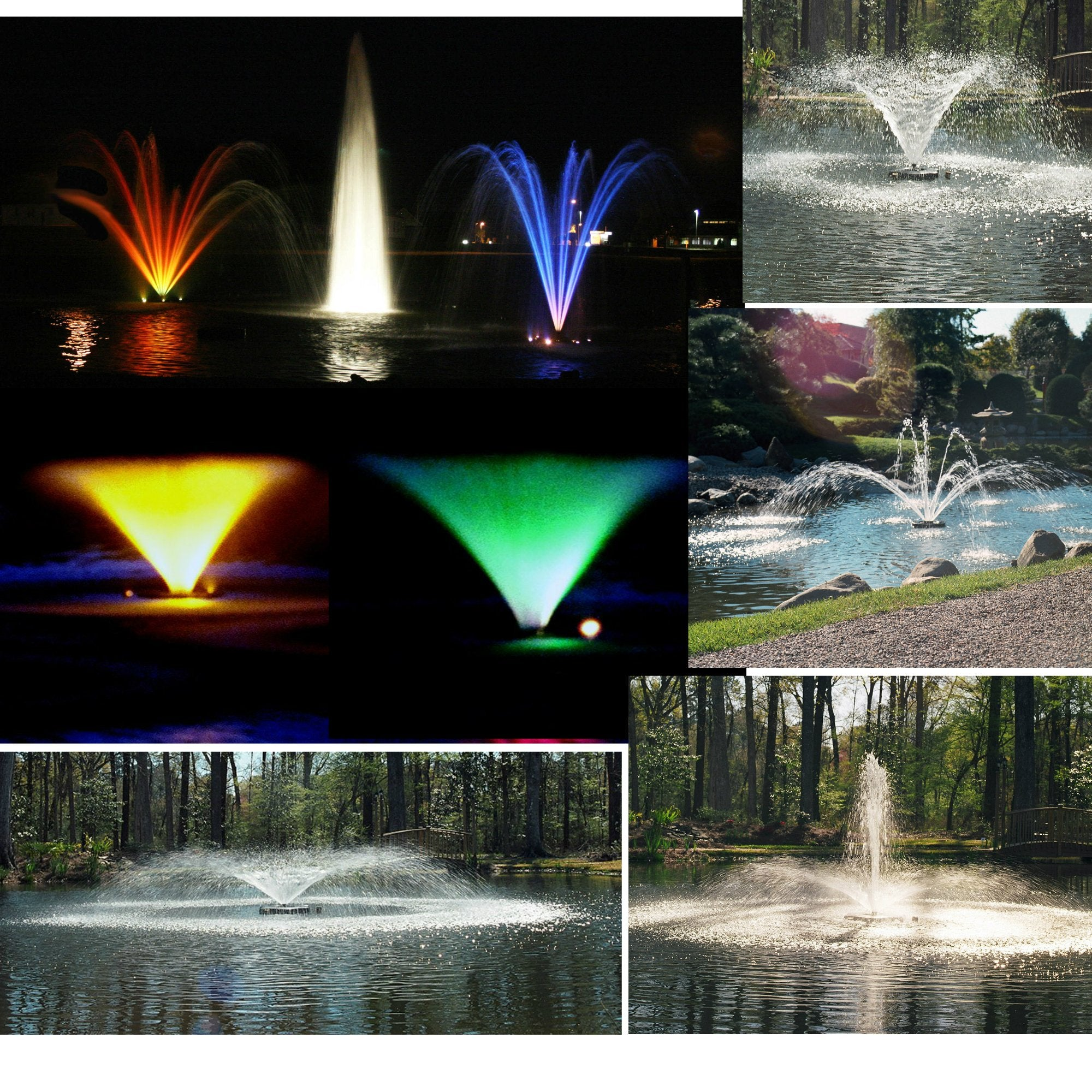 Kasco Marine Fountain with LIGHTS - 3400JF100 3/4 HP 120V Aerating / Decorative Floating Lighted Fountain - 100ft power cord