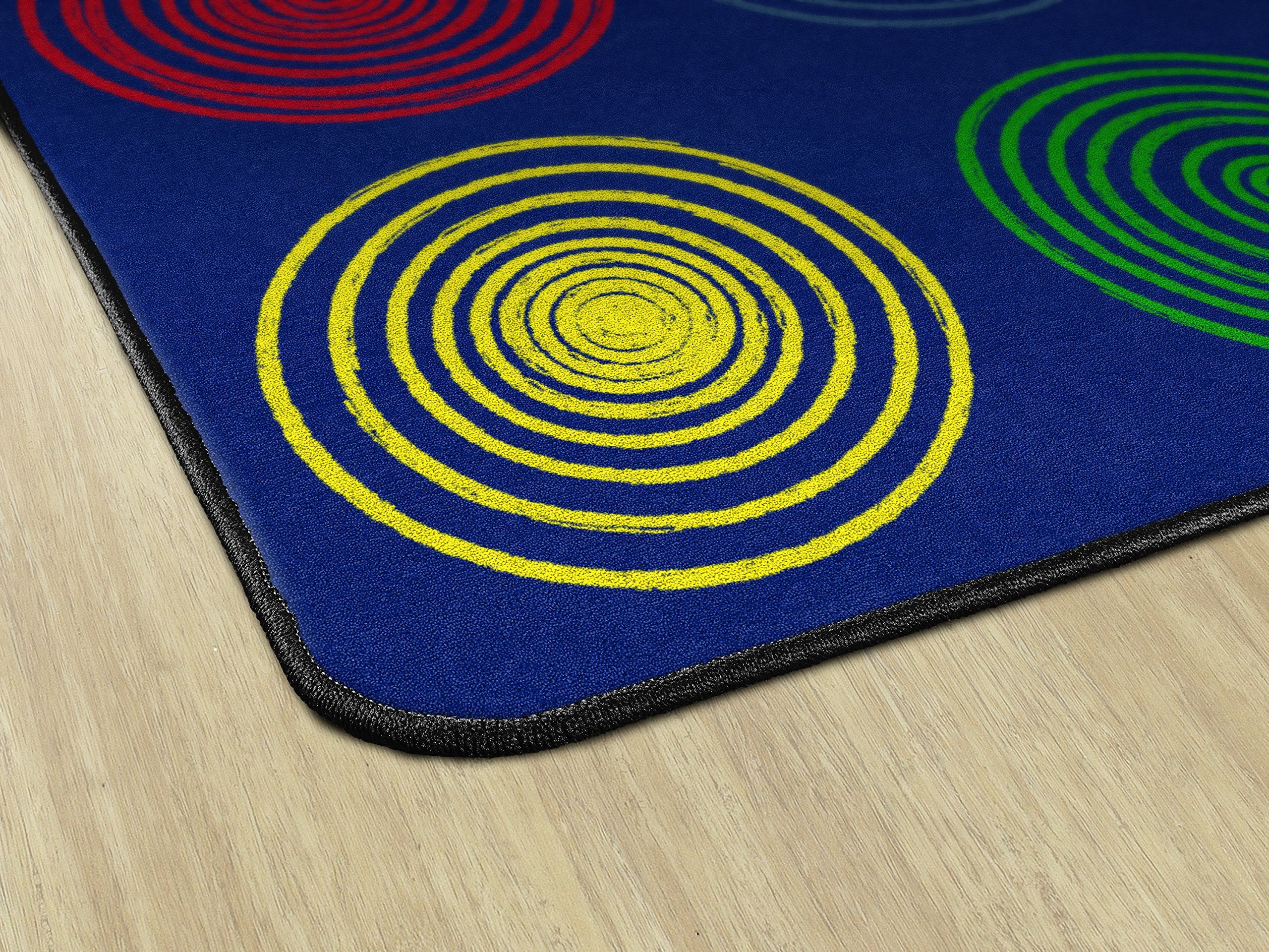 "Flagship Carpets FE412-44A Circles Primary (Seats 24), Children's Classroom Seating Rug, Rectangle, 7'6""x12'"