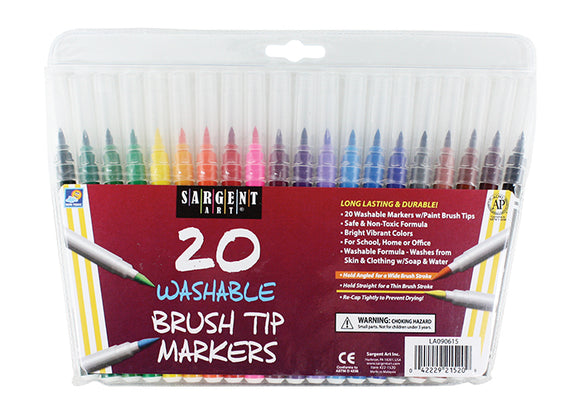 20 WASHABLE BRUSH TIP MARKERS SARGENT ART