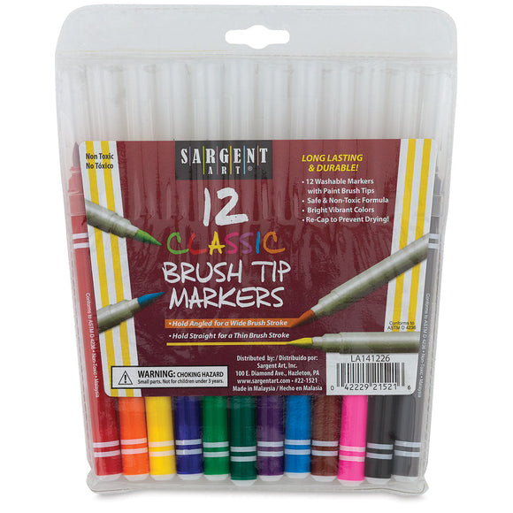 12 Classic Brush Tip Markers Sargent Art