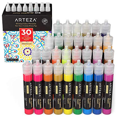 3D FABRIC PAINT SET DE 30 UNID.