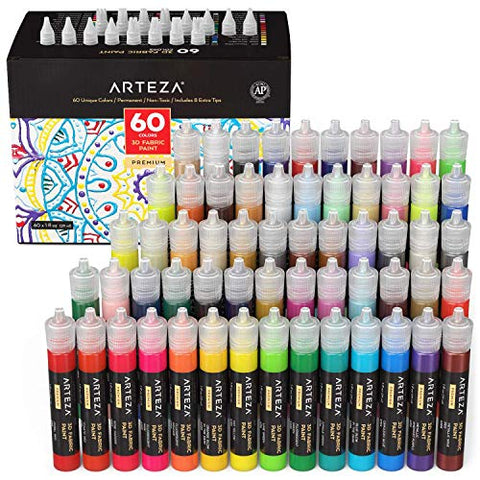 3D FABRIC PAINT SET DE 60 UNID.