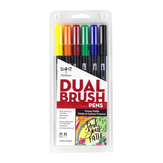 SET DE MARCADORES DUAL BRUSH PRIMARY TOMBOW 6PC
