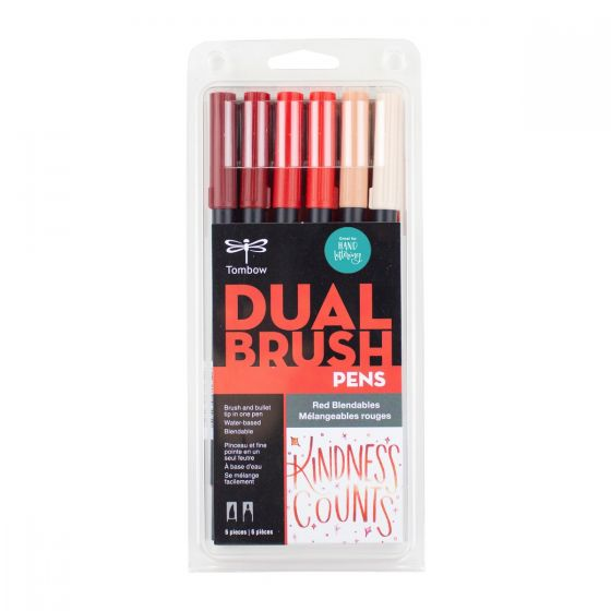 SET DE MARCADORES DUAL BRUSH ROJOS BLENDABLES TOMBOW 6 PZA