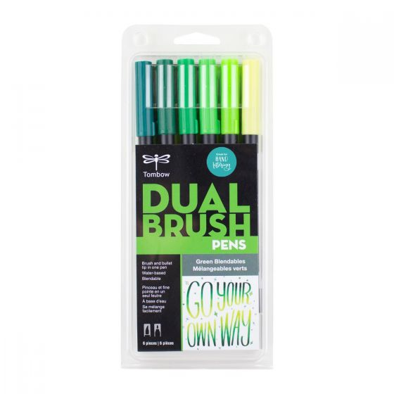 SET DE MARCADORES DUAL BRUSH VERDES BLENDABLES TOMBOW 6 PZA