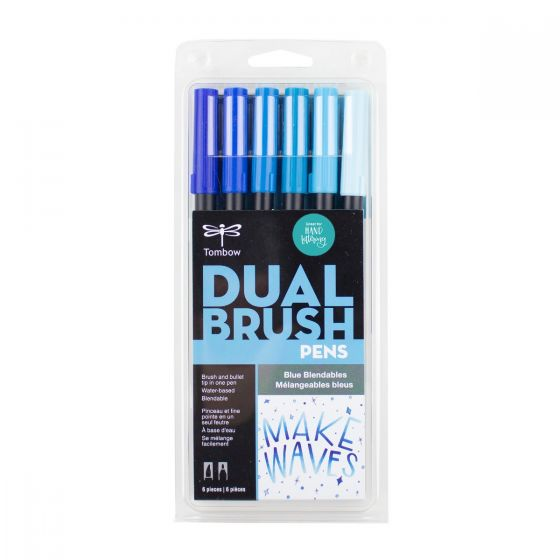 SET DE MARCADORES DUAL BRUSH AZUL BLENDABLES TOMBOW 6 PZA