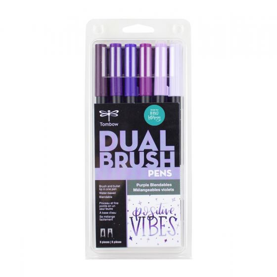 SET DE MARCADORES DUAL BRUSH MORADOS BLENDABLES TOMBOW 6 PZA